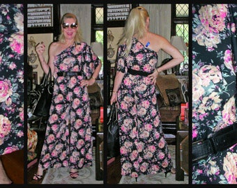 147f3ab2ddb 1990 s 1 piece woman s black   pink blooming roses palazzo playsuit ft. 1  batwing shoulder