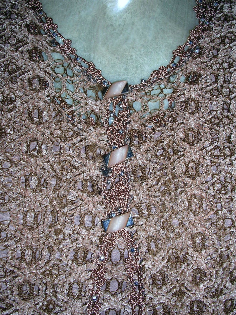 ft Vintage 80/'s chocolate brown velvety crocheted /& beaded embellished stunning ladies twinset top + cardigan lovely buttons size: medium