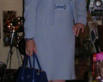 Vintage 1990's sky blue micro-fibre slip dress, jacket & co-ordinated belt by Aspirations size: medium