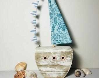 Quaint Driftwood Sail Boat Ornamemt