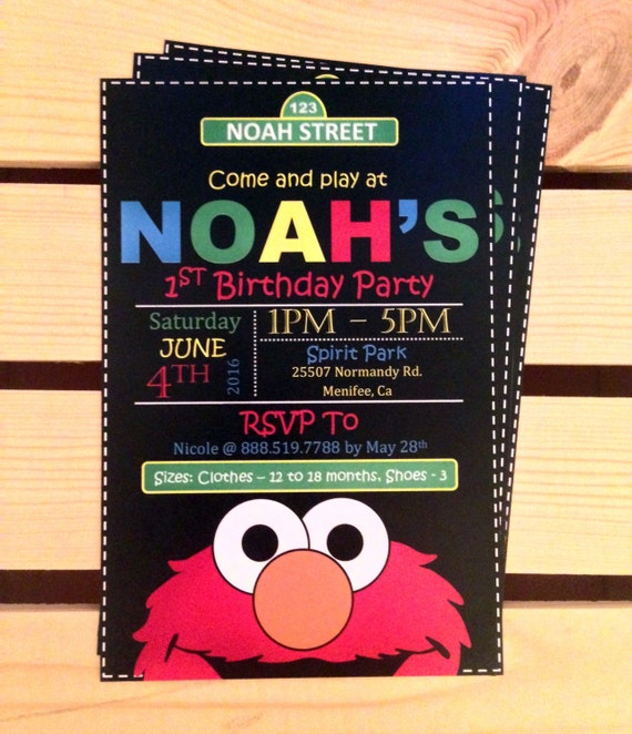 Printable Elmo Birthday Party Invitations