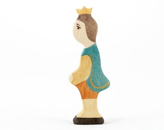 Wooden Prince Medieval European Fairytale Figure Toy, Castle Toys Waldorf Wooden Toys Motor Skills Ecofriendly Educational Gift SKU: a1081