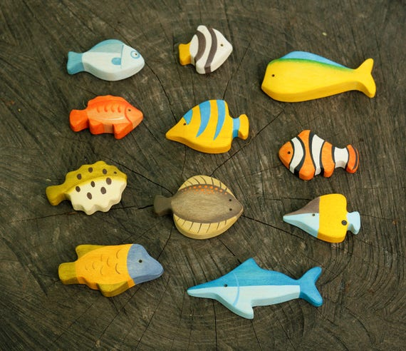 Wood Fish Set 11 items Animal toys Waldorf wooden toys | Etsy