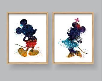 Mickey Mouse Minnie Mouse Wall Art, Printable Watercolor Mickey Minnie Art  Home Decor Wall Decor Kids Nursery Disney Wall Art (#301/#312)