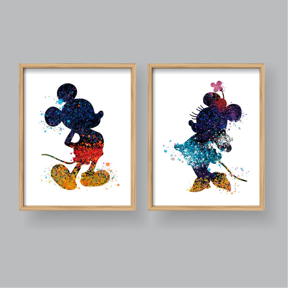 Mickey Mouse Minnie Mouse-Wand-Kunst druckbare Aquarell   Etsy