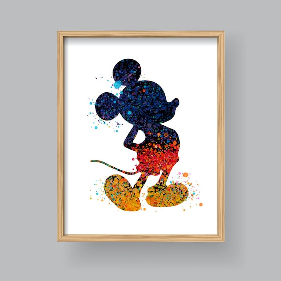 Mickey Mouse wall art Printable mickey mouse watercolor | Etsy