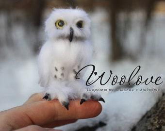 Miniature owl/Mini-owl/white owl/polar owl/harry potter owl/mini hedwig/felted owl/mini felted toy/wool owl/realistic owl/ooak owl/snowy owl