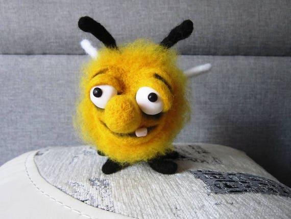 Needle Felted Beewool Beemade To Orderfunny Beefelt Etsy