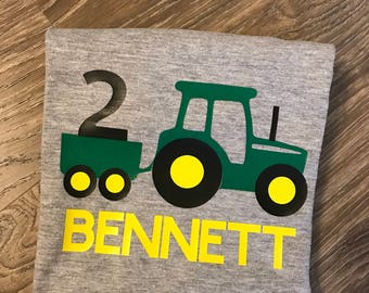 Tractor Birthday Shirt 2nd 2 Boys Second