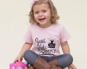 Just like mommy, photography shirt, camera shirt, baby shower gift, baby girl clothes, toddler girl clothes, toddler girl shirts