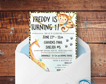 Zoo Animals Kids Birthday Invite - Customized Printable