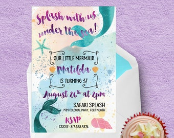 Mermaid-themed birthday party invitation -- customized printable