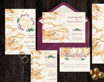 Rustic Winter Wedding Suite - Customized Printable - Invitations