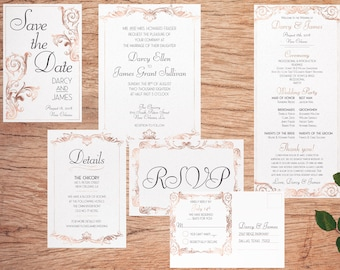 Classic Baroque Wedding Suite - Customized Printable - Invitations