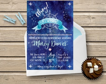 Nautical-themed Watercolor Baby Shower Invite for Boys - Customized Printable