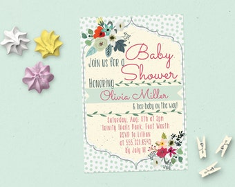 Foral Gender Neutral Baby Shower Invitation - Customized Printable
