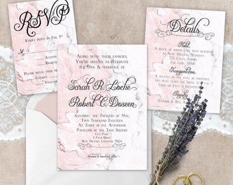 Elegant Marble Wedding Suite - Customizable, Printable Wedding Invites