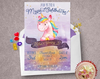 Unicorn-themed birthday party invitation -- customized printable
