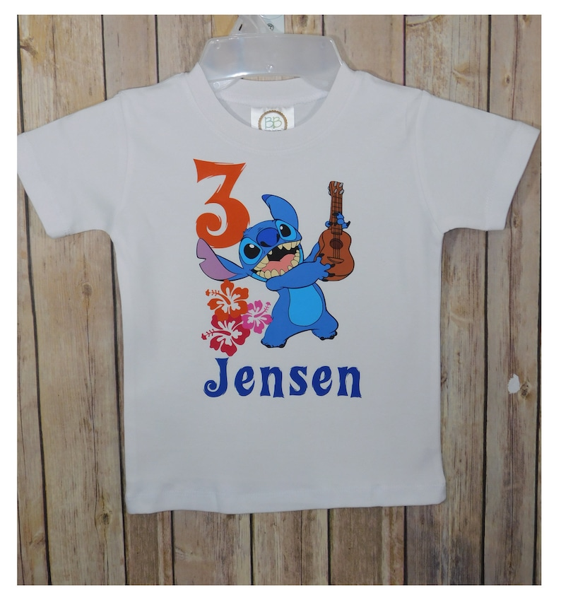 Girls Lilo and Stitch Personalised Birthday T-shirt  any number any name