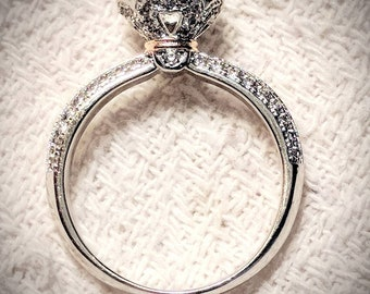 Vintage look CZ sterling silver solitaire ring