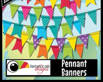Bunting Clipart, Pennant Banners Clip Art, Bunting Clip Art, Pennant Banners, Printables