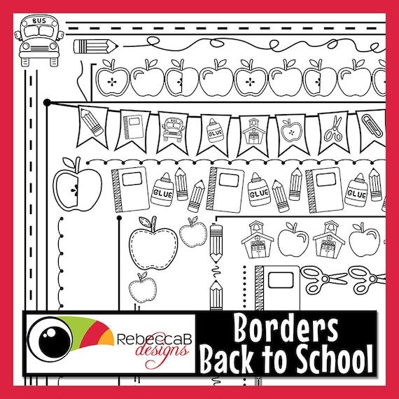 Regreso a la escuela gráfico detrás a escuela fronteras | Etsy