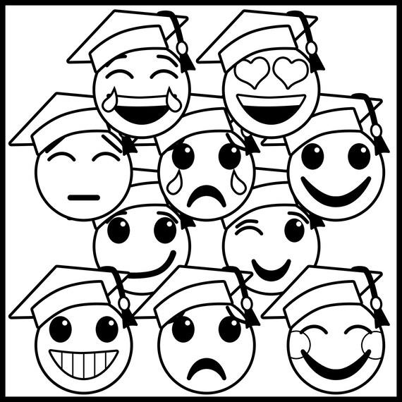 graduation clip art emoji faces graduation emoji clip art etsy New Black Emoji Girl 50