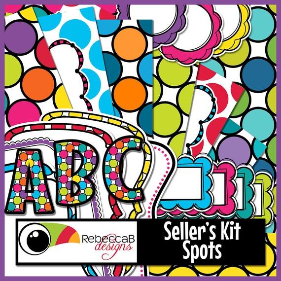 clip art kit digital kit spots polka dots frames etsy rh etsy com red polka dot background clipart polka dot circle background clipart