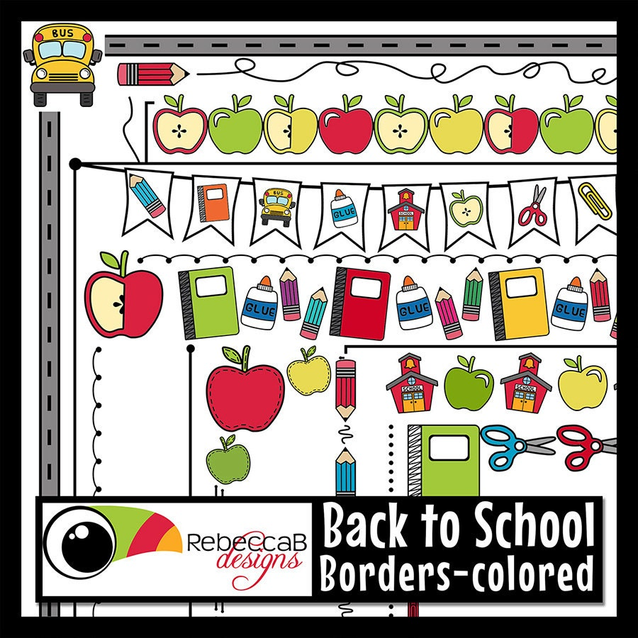 back to school clipart back to school borders school | etsy