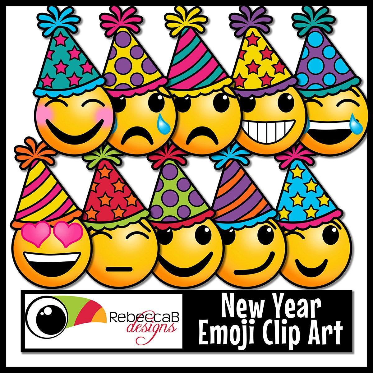 Neujahr-ClipArt-Grafik: Emoji Neujahr Cliparts Emotionen | Etsy