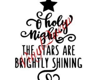 O Holy Night The Stars Are Brightly Shining Christmas Vinyl Decal Frame Gift Quote Festive Shadow Box Frame