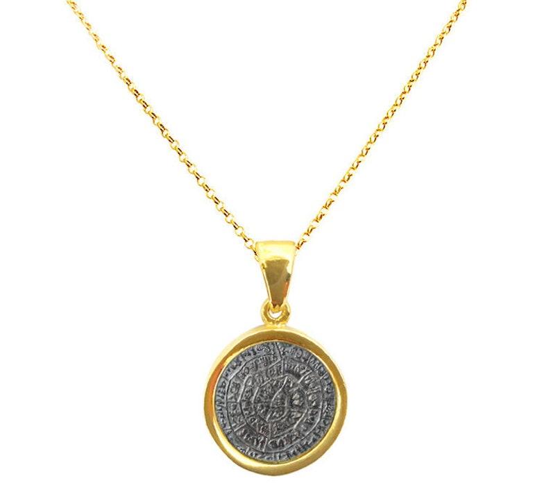 Greek Phaistos Disc Pendant on 24K Gold Vermeil Chain or Leather Choker,  Phaistos Disc Pendant, Greek Pendant, Greek Jewelry, Ancient Greece