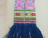 PAIR - VINTAGE Hmong Textile - Embroidery Hmong Tapestry - Cross Stitches - YarnTassels - DIY Project - Hand Craft