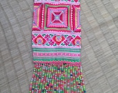 VINTAGE Embroidery Hmong Tapestry - Cross Stitch - Ethnic Hilltribe - DIY - Wall Hanging - Craft Supply - Beads Tassels