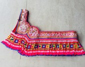 VINTAGE Hmong Textile - Embroidery Hill Tribe textile - Long Bead Tassels - DIY Project - Hand Craft