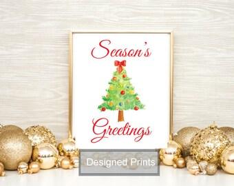 "Season's Greetings Christmas Printable Wall Art, Christmas Quote Print, Home Decor Instant Download 8""x10"""