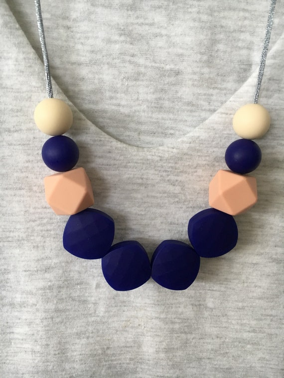 Silicone Beads Necklace Baby Sensory Jewellery gift Blue