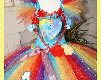 Handmade Girls Rainbow Dash My Little Pony Tutu Dress