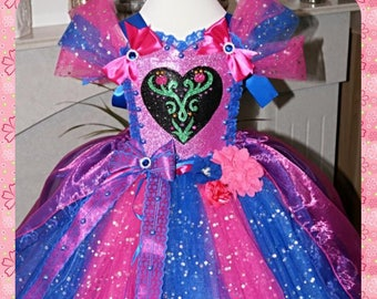 Handmade Girls Disney Frozen Princess Anna Tutu Dress