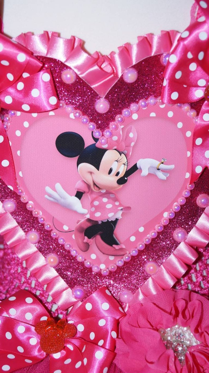 Handmade Girls Bright Pink Disney Minnie Mouse Pageant Ball Gown Glitter Sparkle Party Tulle Tutu Dress
