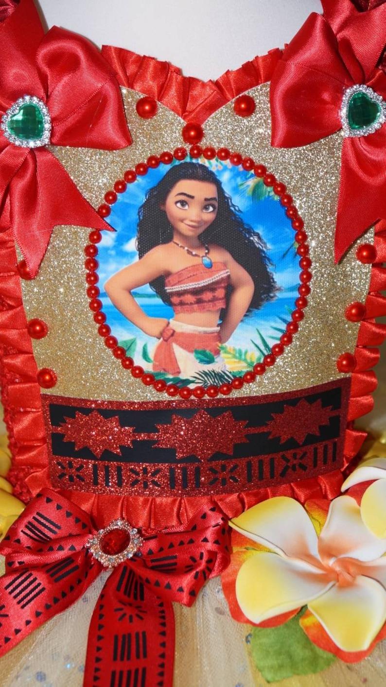 Handmade Girls Hawaiian Moana Disney Princess Pageant Ball Gown Glitter Sparkle Party Tulle Tutu Dress