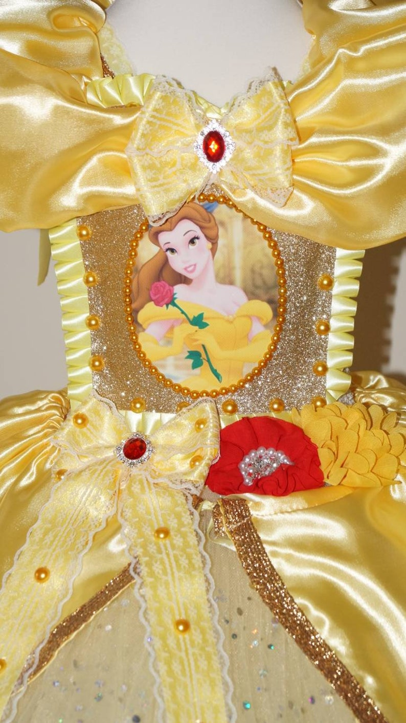 Luxury Handmade Girls Disney Princess Belle Beauty and the Beast Pageant Ball Gown Glitter Sparkle Party Satin Tulle Tutu Dress