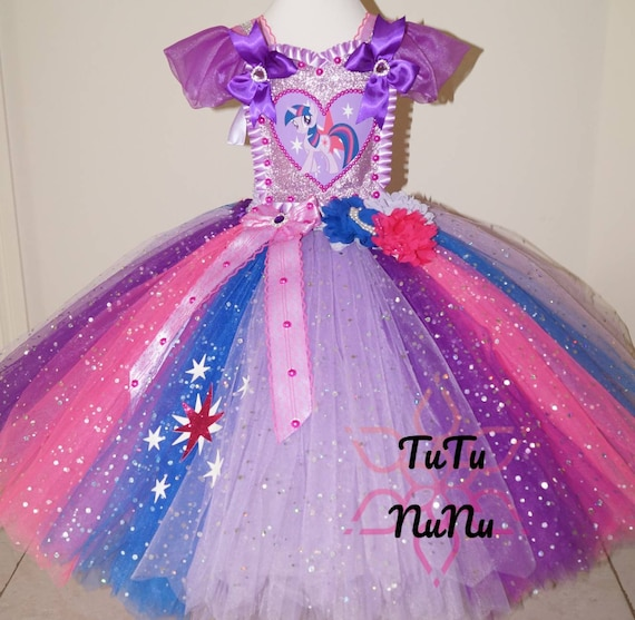 Handmade Girls Twilight Sparkle My Little Pony Pageant Ball Gown Glitter Sparkle Party Tulle Tutu Dress