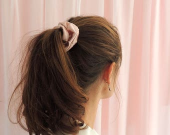 Oyster Pink Silk Satin Hair Elastic Scrunchie