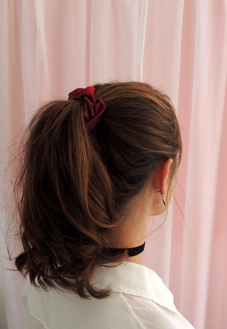 chouchou cheveux rouge bordeaux en satin soie cheveux en soie | etsy