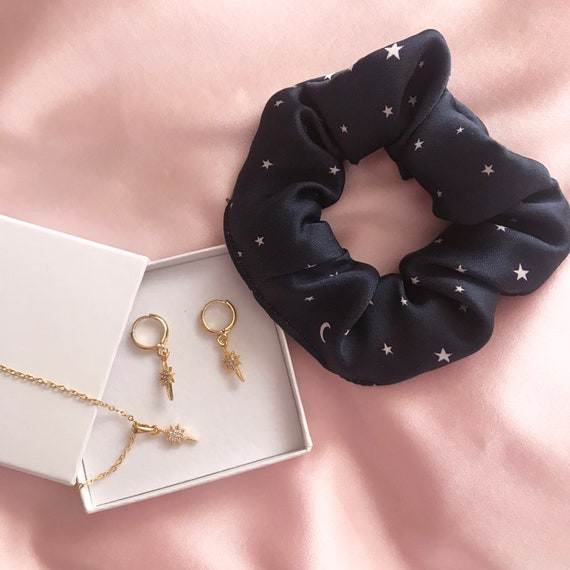 Necklace and Earrings Set Summer Cherry Silk Scrunchie