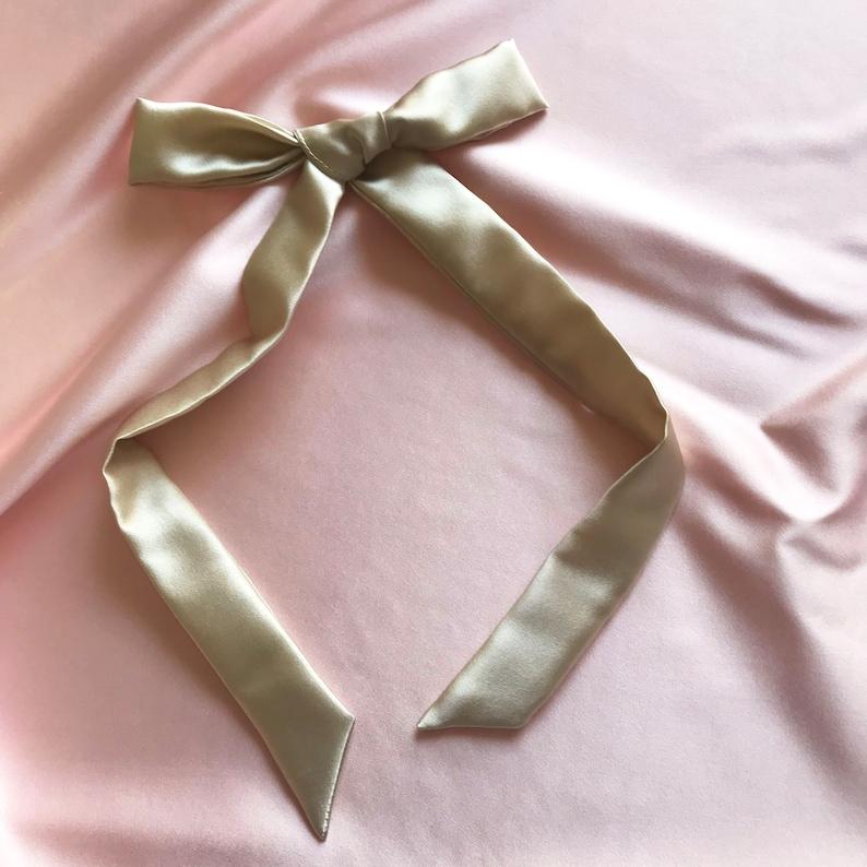 74a94e468a45 Champagne Gold Silk Hair Ribbon Pony Scarf Tie | Etsy