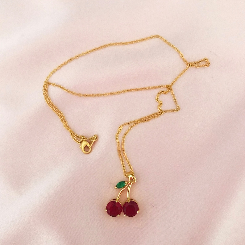 Summer Cherry Silk Scrunchie and Necklace Set