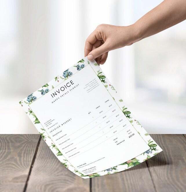 Rechnung Hübsche weiße Blumenmuster Editierbare | Etsy