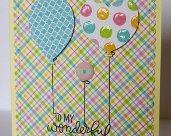 Balloon card, thank you card, friendship card, birthday card, happy birthday card, handmade card